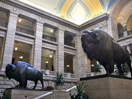 Inside the Manitoba Legislative building in Winnipeg