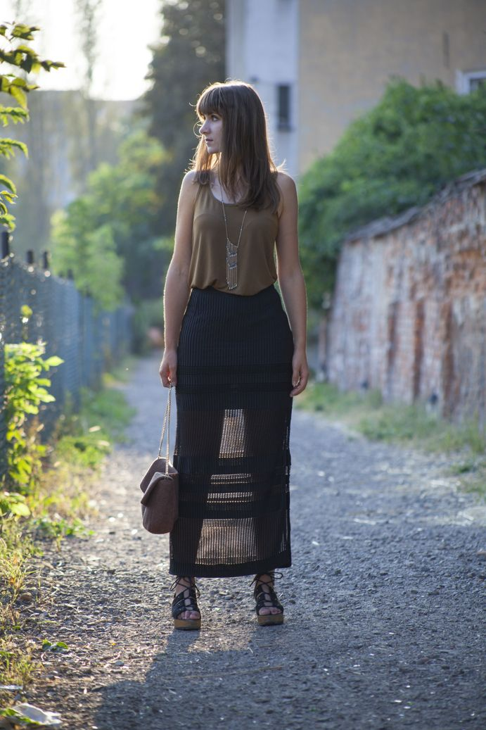 Semitransparent maxi skirt