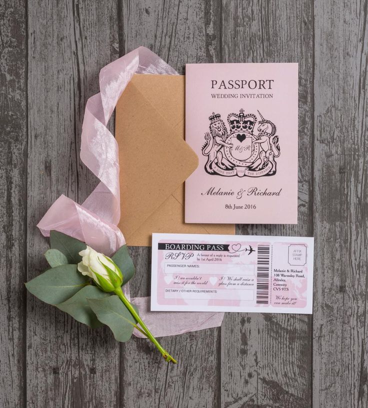 Whether you're jetting off for a wedding abroad or you just love travelling, this passport style wedding invitation is the perfect way to include your interests in your wedding theme. It's available from Hip Hip Hooray in a choice of colours.