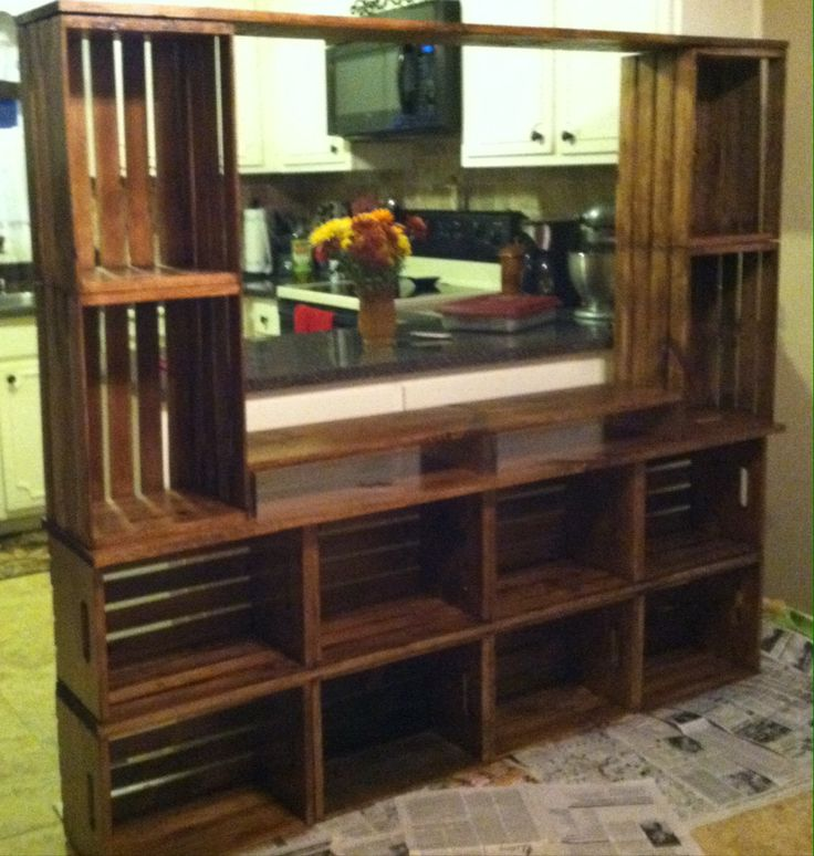 Entertainment center made out of craft store crates ...