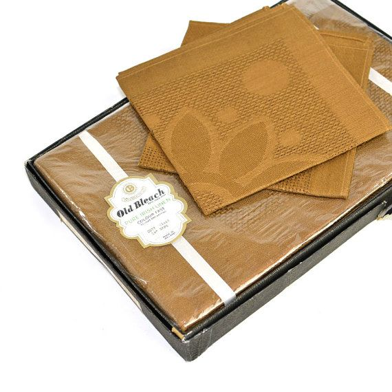 """Vintage Old Bleach Irish Linen Table Damask Tablecloth & Napkins Set: Elegantly rustic """"walnut"""" brown, fine dining room decor. Available from OneRustyNail on Etsy. ► http://www.etsy.com/shop/OneRustyNail"""