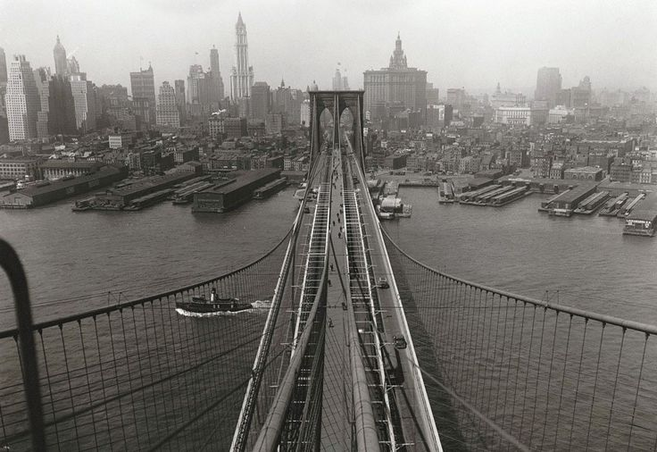 New York City / View of #Manhattan from the Brooklyn Tower of the Brooklyn Bridge, on April 24, 1933