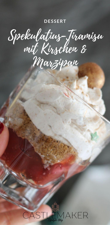 Traumhaft leckeres Dessert im Glas. Spekulatius-Tiramisu mit Kirschen und Marzipan. Eine leckere Mascarpone-Sahne-Creme mit Spekulatius auf Kirsch-Marzipan - einfach köstlich. #dessert #schichtdessert #tiramisu