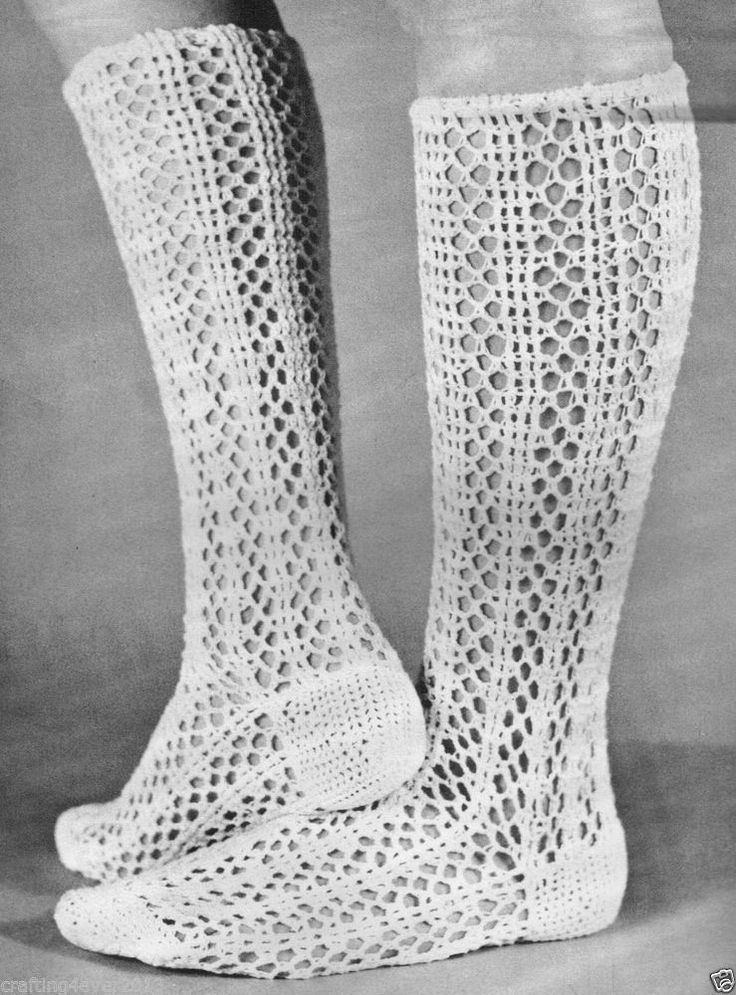 VINTAGE 1970'S RETRO KNEE HIGH LACY WOMEN'S COTTON SOCKS 4 PLY CROCHET PATTERN AMERICAN EBAY