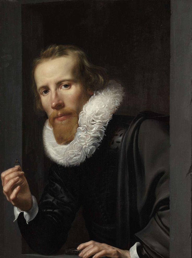 Portret van een man met een ring en toetssteen, waarschijnlijk Bartholomeus Jansz van Assendelft (1585-1658), Werner van den Valckert, 1617