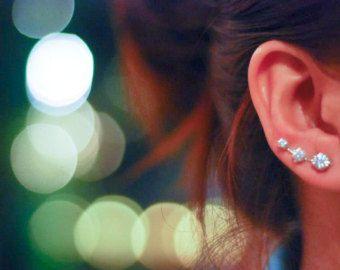 Escaladores de oído diamante plata 9s suerte por arajera en Etsy