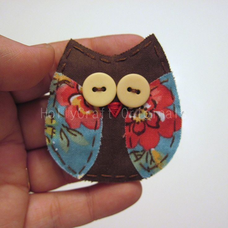 Owl Pin Fabric Owl Pin Owl Brooch Owl by HollyCraftOriginals