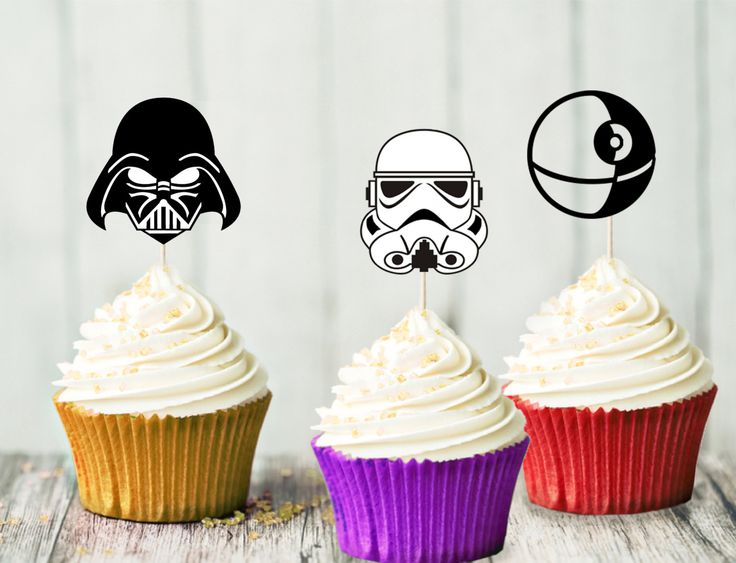 Star Wars Cupcake Topper Set - The Dark Side - Birthday Party - Star Wars Party - Darth Vader - Storm Trooper - Death Star