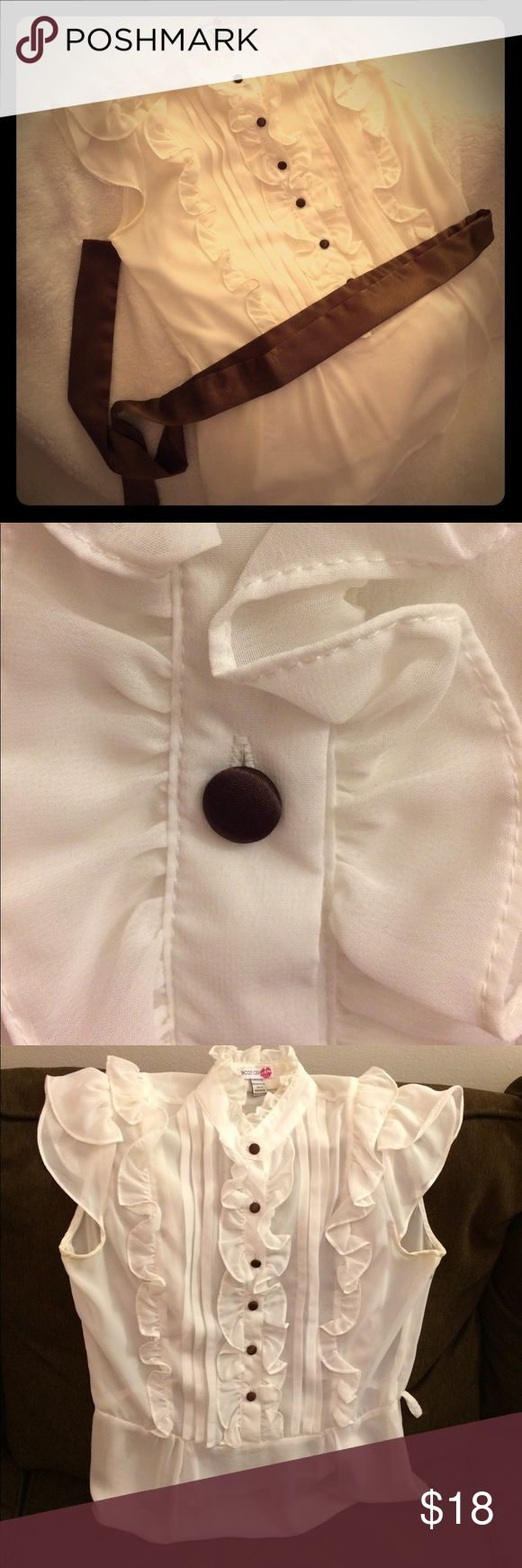 Sheer White Blouse with Silky Brown Sash Vintage appeal! Perfect with a brown pencil skirt or slacks. Buttons covered with sash material. Slight coloration under cap sleeves (picture). Body Central Tops Blouses