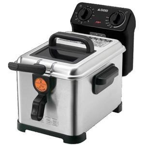 SEB - FR4050 _ Friteuse Filtra Pro - Thermostat avec indicateur de température pour ajuster la cuisson des frites, beignets, nems, tempuras... - Minuterie - Tamis filtrant métallique pour une huile filtrée en un seul geste - Cuve amovible en émail - Couvercle avec hublot de contrôle - Nettoyage aisé avec 100 % des éléments compatibles lave-vaisselle (sauf base électrique) - Poignées de cuve et de transport - Range cordon - Coloris Inox brossé - Puissance 2300 W - Garantie 1 an.