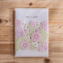 Diseño de Las Flores coloridas de Visita En Relieve Invitación De La Boda Tarjetas de corte por Láser, tarjeta de Invitación de la fiesta de cumpleaños(China (Mainland))