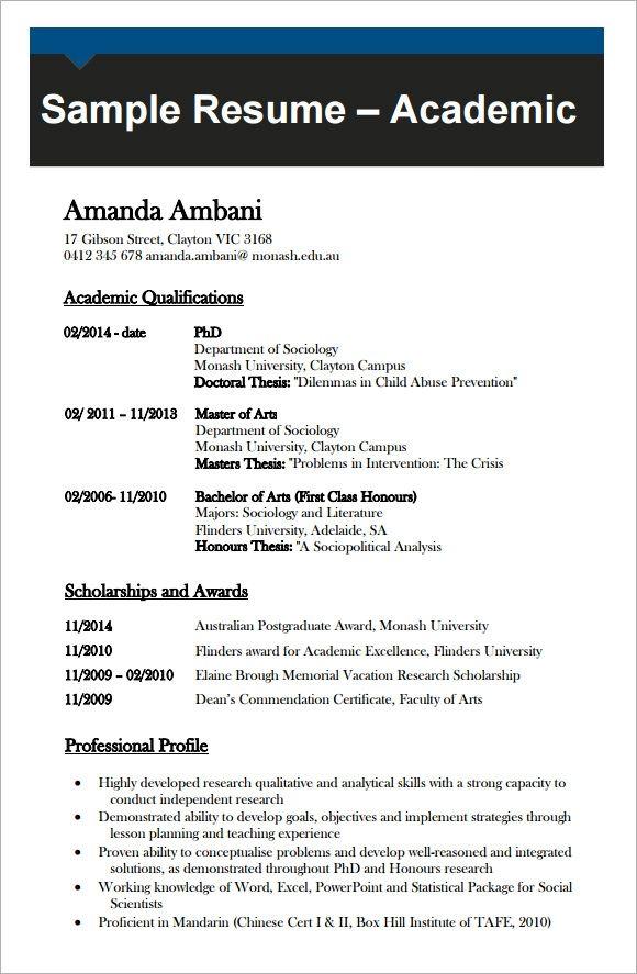 Free Academic Curriculum Vitae Template Desain