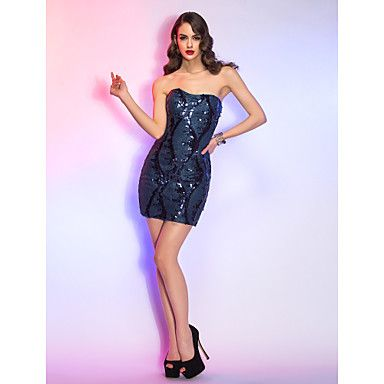 Free Measurements ! Sheath/Colum Sweetheart Short/Mini Sequined And Stretch Satin Cocktail Dress – KRW ₩ 85,861