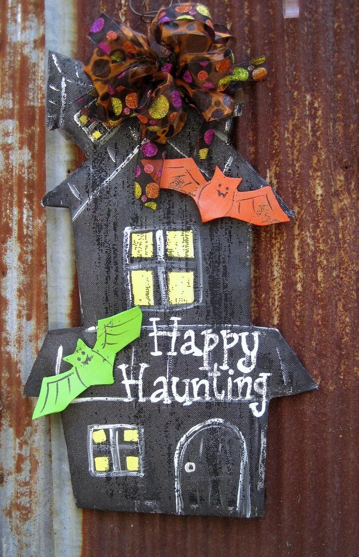 Decorative door hangers craft - Haunted House Door Hanger Via Etsy