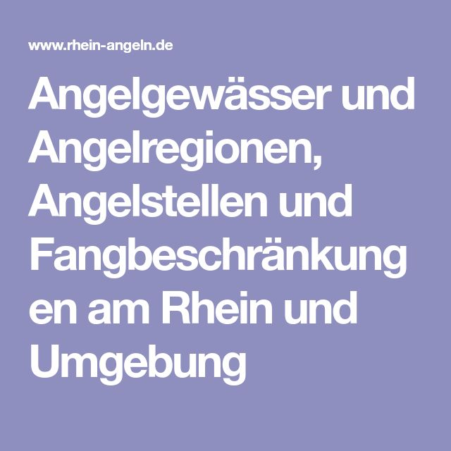 Angelgewässer und Angelregionen, Angelstellen und Fangbeschränkungen am Rhein und Umgebung