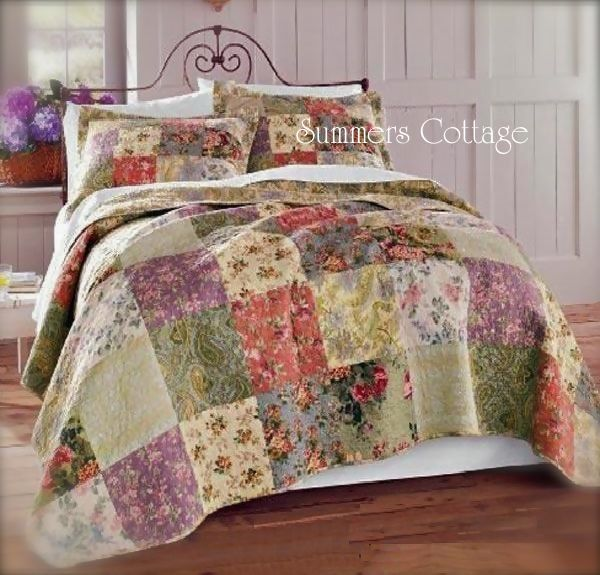 Beach Cottage Style Decorating: FARMHOUSE COTTAGE FRENCH COUNTRYSIDE QUILT SET PILLOW