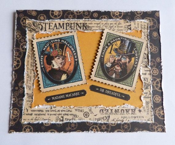 Halloween Card holidays card steampunk card post stamps