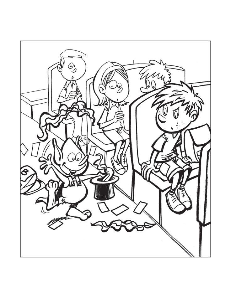 Dessin à colorier de Sam et Bloup - Sécurité en autobus scolaire