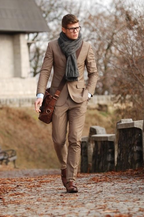 The Dead Stylists Society - http://lookastic.com/men/looks/scarf-and-suit-and-dress-shirt-and-messenger-bag-and-double-monks/3845