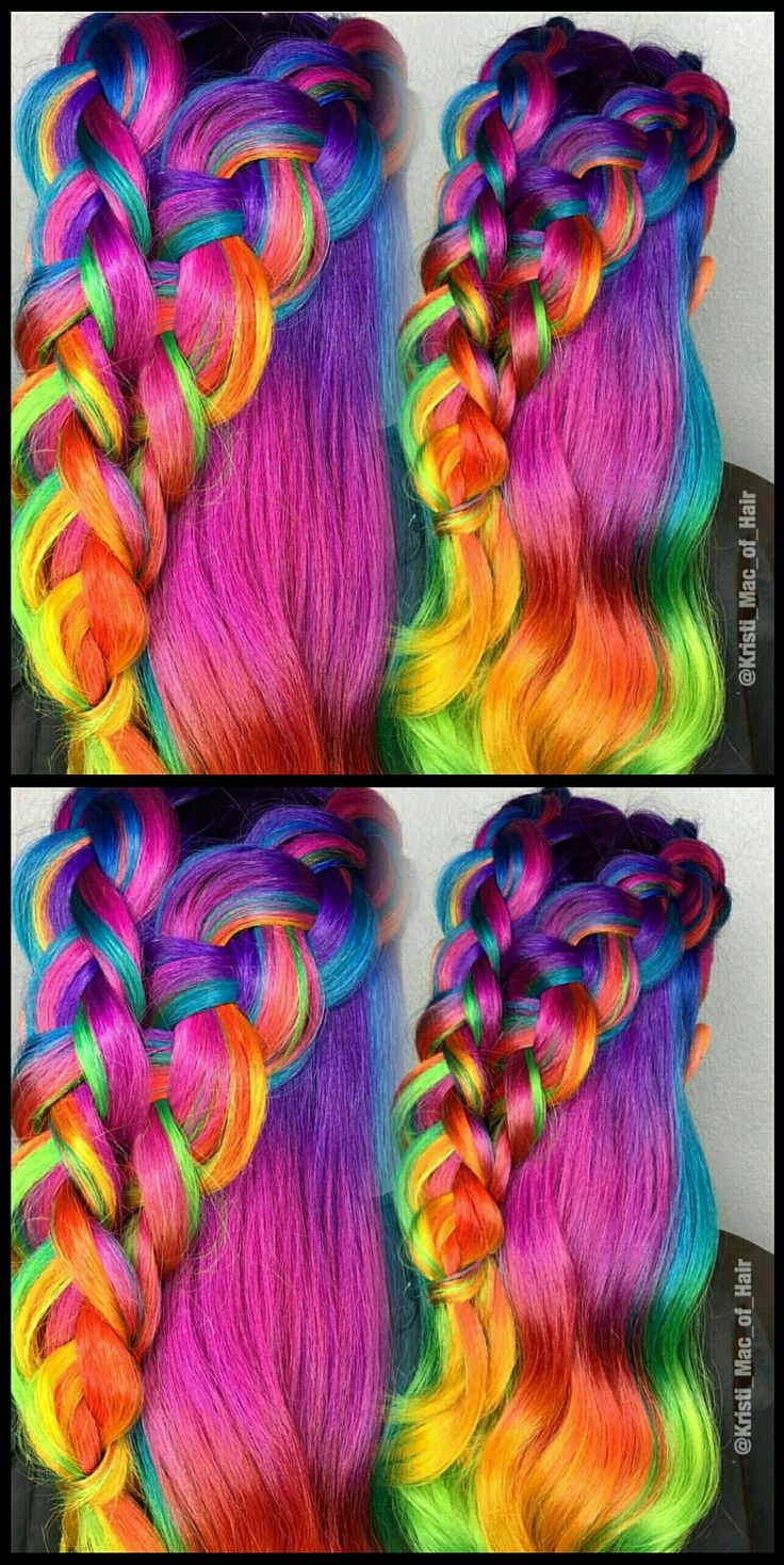 Pink braided rainbow dyed hair color @kristi_mac_of_hair