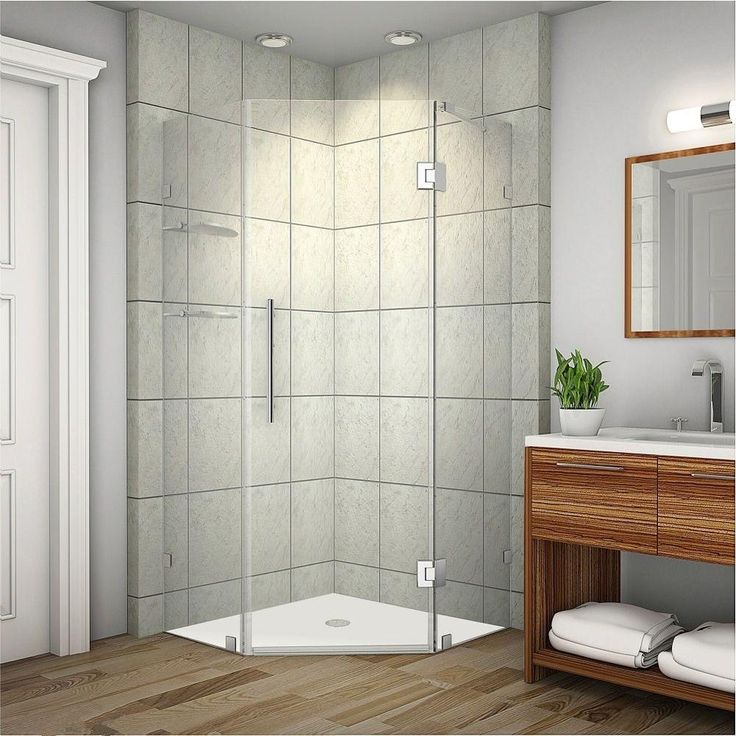 Aston Neoscape GS 38 in. x 72 in. Frameless Neo-Angle Shower Enclosure in Stainless Steel with Glass Shelves