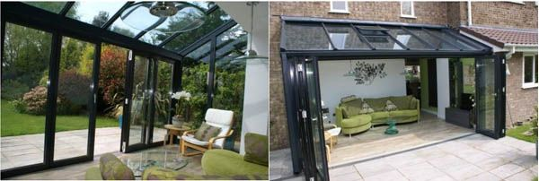 Sun Room With Accordion Doors Weru Acento S 70 Aluminium