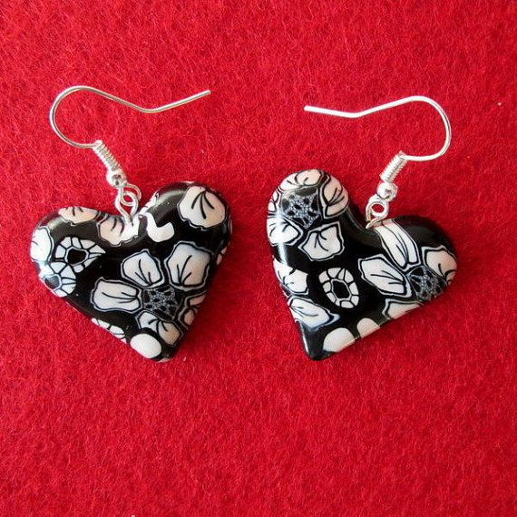 black and white flower polymer clay filigree jewelry by FloralFantasyDreams on Etsy