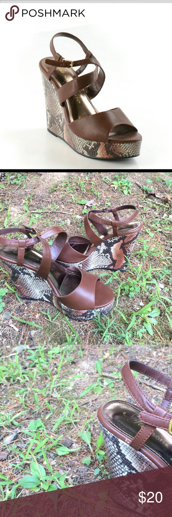 Sofia Vergara Wedges Platform Strappy brown wedges.  Worn once, size 7.  4 inch heel height.  In great condition except one small place seen in picture three.  Make an offer! Sofia Vergara Shoes Platforms