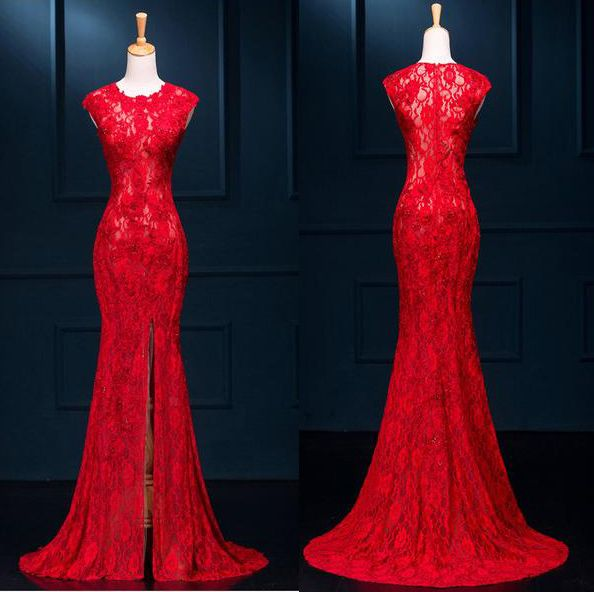 https://www.fashiongirlsdress.top/collections/prom-dresses/products/long-sexy-red-lace-see-through-split-meamaid-prom-evening-dresses,Long prom dress,Tight dress,Sexy prom dress
