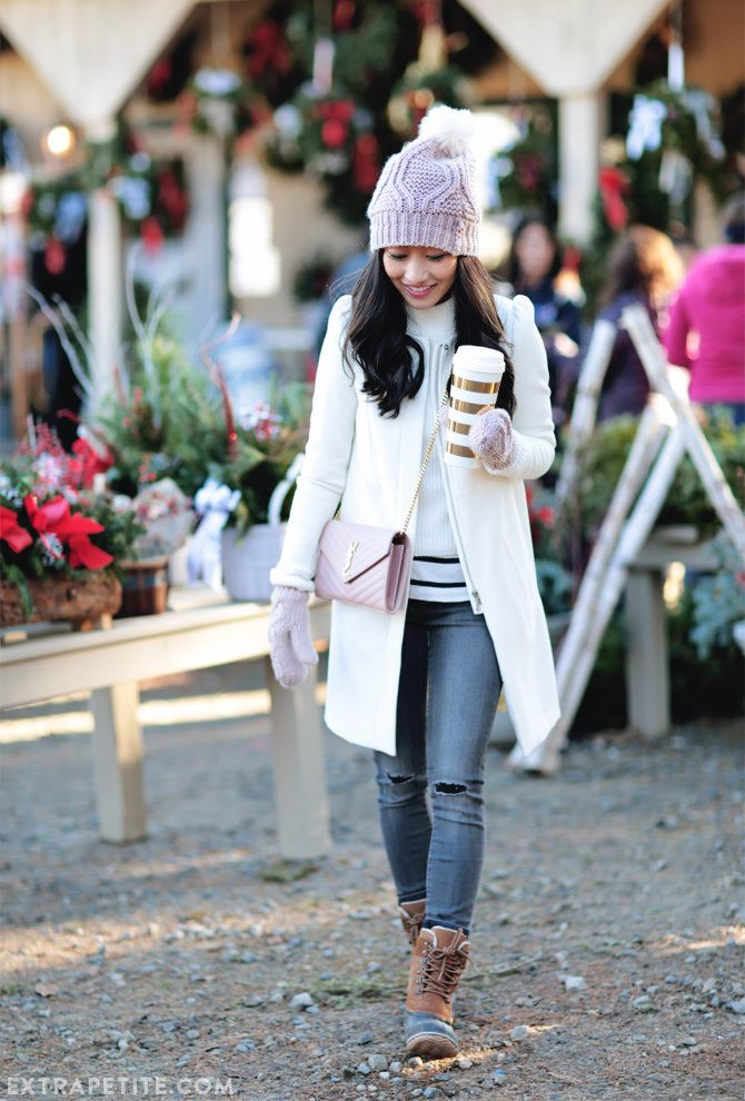 Winter outfit // pink beanie, gray jeans, white coat, sorel duck boots