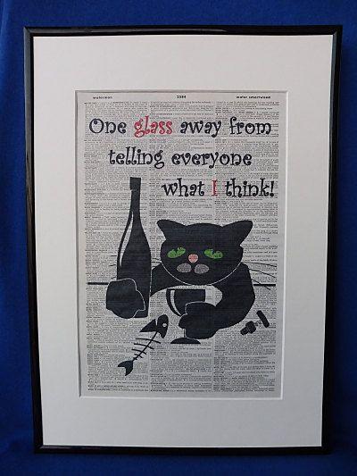 Drunken Cat Wall Art Print by DecorisDesigns on Etsy