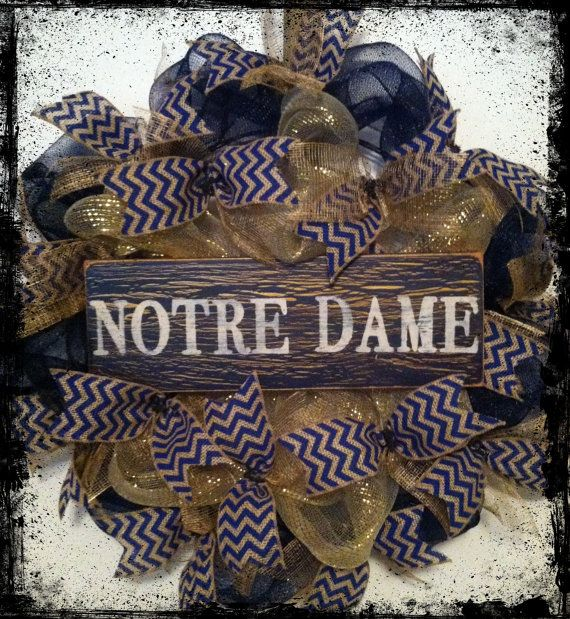 Notre Dame Football Wreath, Fighting Irish, College Football on Etsy, $58.00
