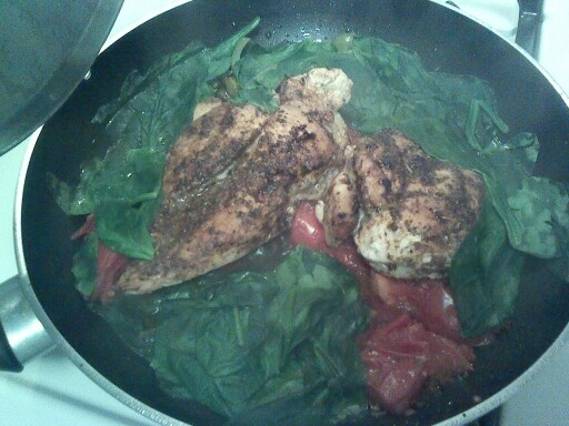 One pan meal: olive oil pan, chop 1 jalepeno & 1 green pepper, spice your two chicken breasts: pepper,garlic,Ital.seasons,paprika, add chkn to pan, med flame (4), 5 min. Turn over, 5 min turn, add spinach and tomatoes, cover---last 5 min! Very very good!!