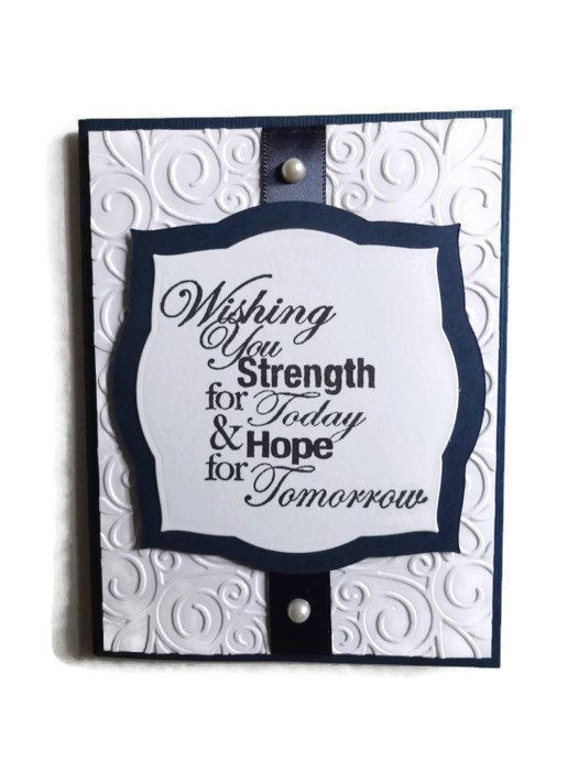 During a time of grief, a personal card brings a measure of comfort to the receiver of the card. This simple yet elegant card is embossed and has colors of navy and white. THe beautiful sentiment is stamped and framed with a pretty label. The inside is blank, but I can stamp With Deepest Sympathy if youd like. Just convo me when you order. My cards are made with high quality card stock. If you need more than just email me - I can make as many as you need. I also embellished the card with…