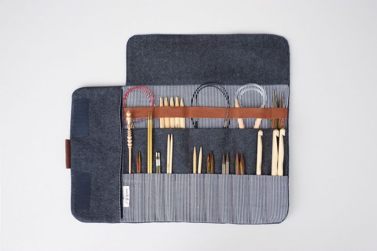 Knitting needle case Circular needle case Needle Organizer Crochet case (44.00 USD) by OtterburnPQ