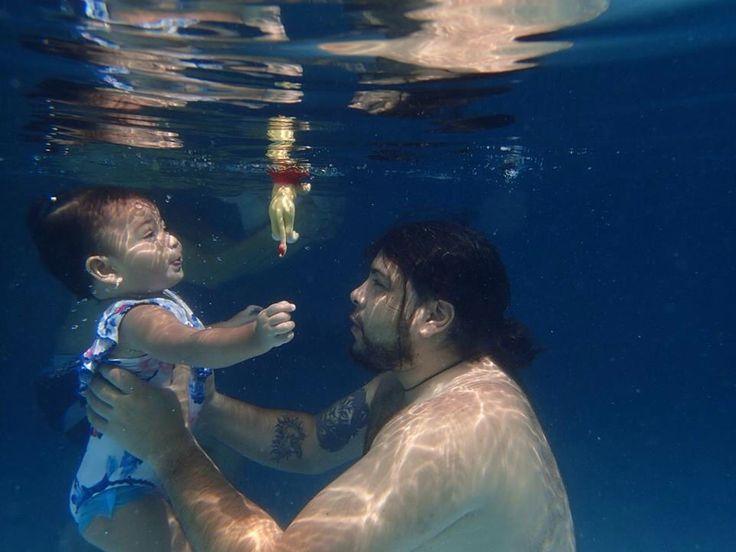 Vida loves to swim! #vida #family #baby