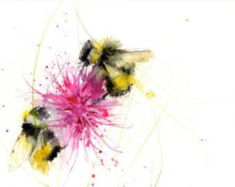 Bee print, limited edition, of my BUMBLE BEE on a thistle watercolour painting 2403 floral art, home decor, gift, . hand signed – malen