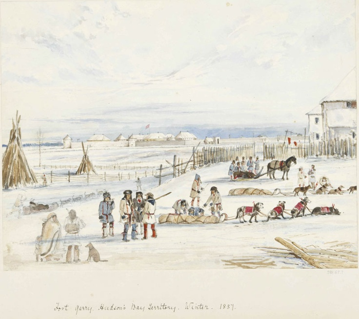 Fort Garry, Hudson's Bay Territory, Winter, 1857, Winter 1857, watercolour, touches of gouache, pen & ink, over graphite on wove paper, Alexander Moncrieff  Moncrieff, Alexander  Winter 1857  Purchased with the assistance of a Repatriation Grant under the Canadian Cultural Property Export and Import Act.  981.67.7  ROM2006_7476_1   Royal Ontario Museum
