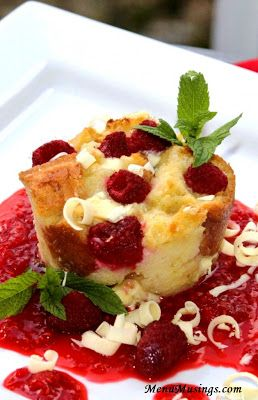 Individual White Chocolate and Raspberry Bread Puddings.  Step-by-step to making this decadent dessert... with built in portion control!  HA!!