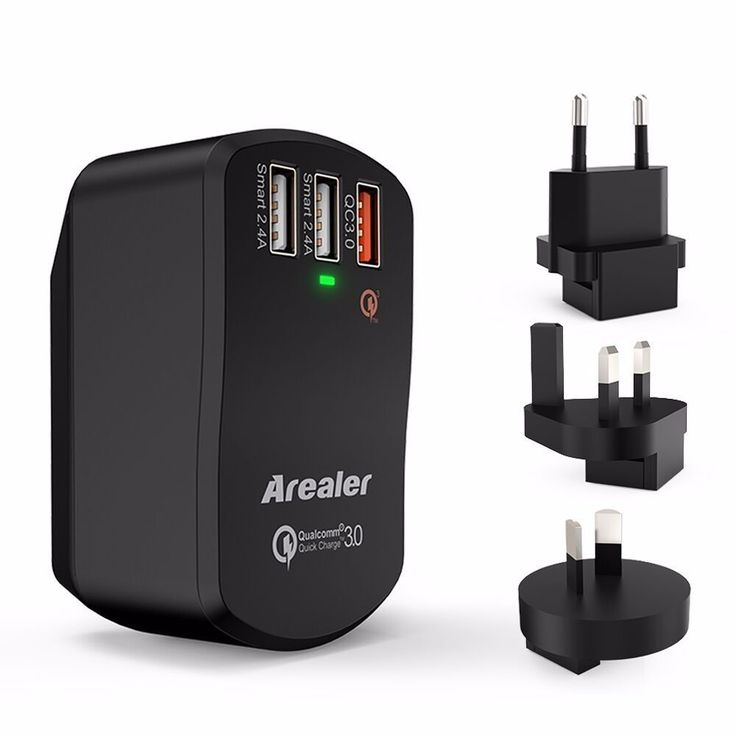 Arealer Qualcomm Certified Quick Charge 3.0 USB 3 Port Wall Charger AU/EU/UK/US