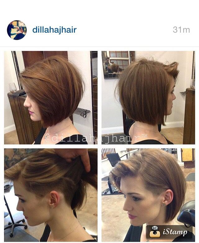 Another beautiful undercut bob on this stunner! Been doing this girls hair  for prob 4 years now, and that\\u0027s her natural hair color!
