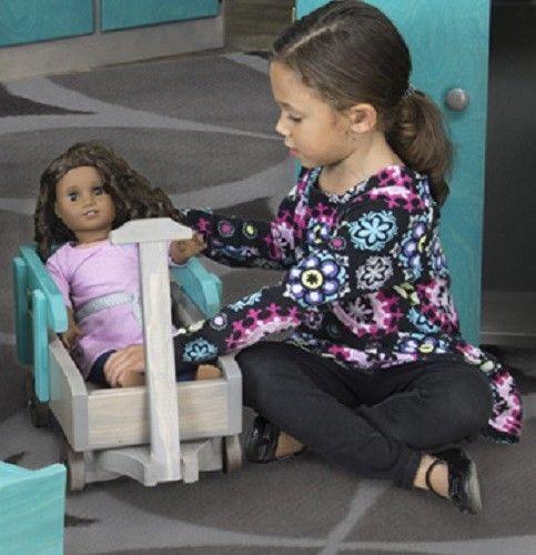 "BABY DOLL TURQUOISE BLUE PULL WAGON Handmade USA Wood Furniture 12-18"" Dolls #AmishHandmade"