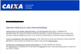 Golpe na internet pede confirmação de dados de clientes da Caixa Econômica Federal +http://brml.co/1ExmN8U