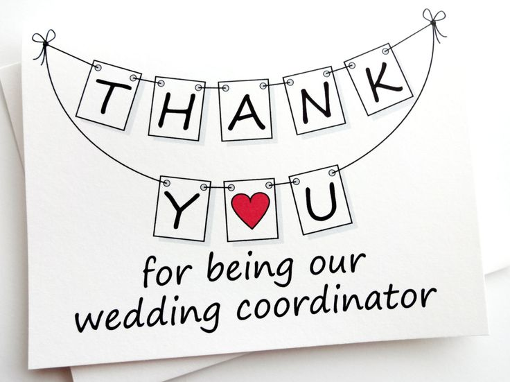 Wedding Coordinator Thank You Card by lilcubby on Etsy