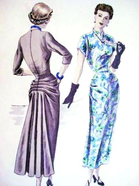 1940s STUNNING Cocktail Evening Dress Pattern VOGUE SPECIAL DESIGN 4942 Striking Back Interest Horizontal Pleats Flared Fullness Lovely Hip Drapery Unique Style Bust 30 Vintage Sewing Pattern