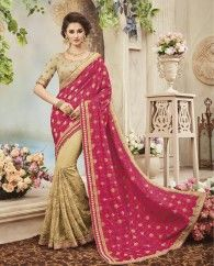 1. Pink And Beige pure silk viscose sari 2. Adorned with exclusive embroidery & pearl work on corrien net skirt with heavy jewellery border  3. Comes with a matching embroidered art silk unstitched blouse