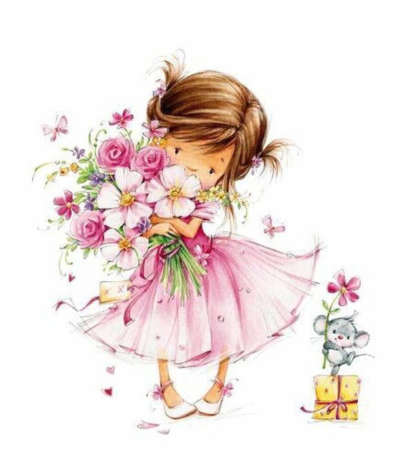 Иллюстрации девочки цветочки
