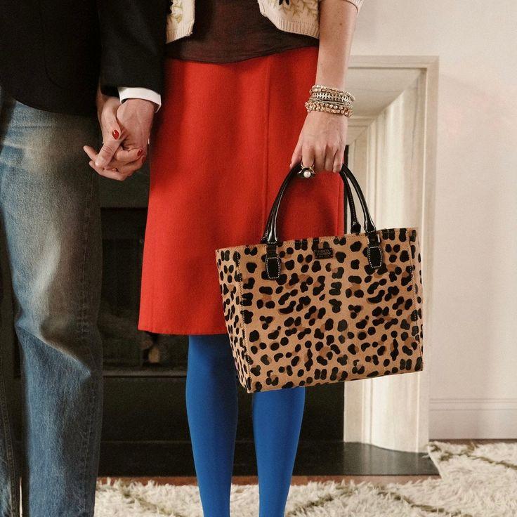 Leopard Print Calf Hair Tote Bag Frances Valentine Blue Tights
