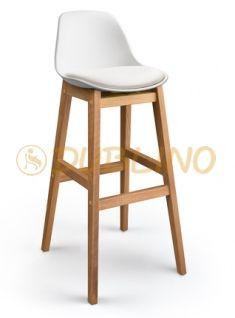 DL FINE BS WHITE - Bílá barová židle s dřevěnými nohami.