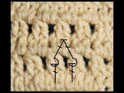 Curso Basico de Crochet : Dos puntos altos en relieve tomados por el frente cerrados juntos - YouTube